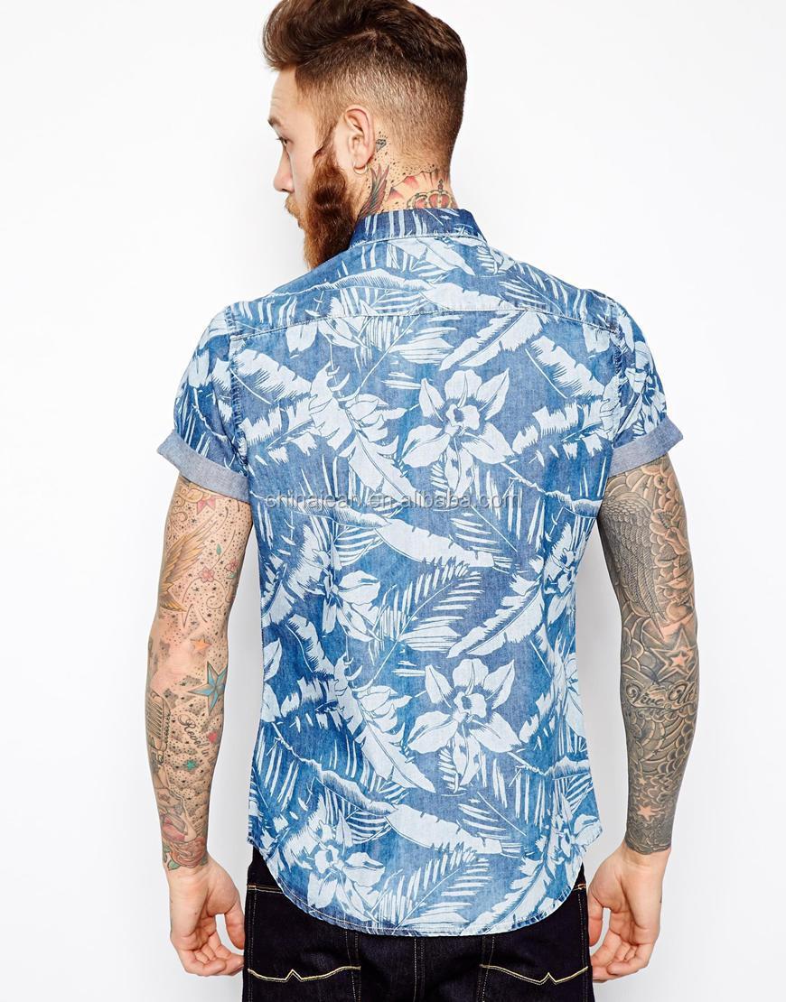 e9811a4306 2015 Moda Floral Impreso Denim Camisa Para Hombres Jxf66 - Buy ...