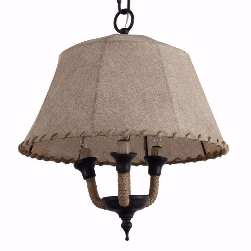 Benzara Lamp Shade Style Metal and Rope Chandelier, Brown, new