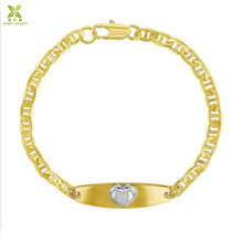 18 k Gold plated two tone cuore id di <span class=keywords><strong>identificazione</strong></span> braccialetto <span class=keywords><strong>per</strong></span> i <span class=keywords><strong>bambini</strong></span> i <span class=keywords><strong>bambini</strong></span>