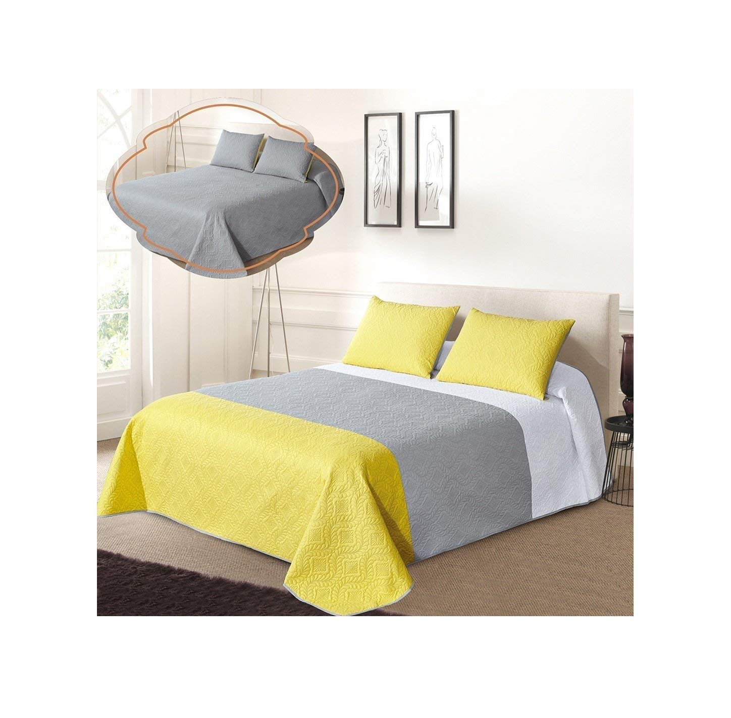 All American Collection New 3pc Solid Three Color Combination Reversible Bedspread Set (TWIN/ TWIN XL, White/Grey/Yellow