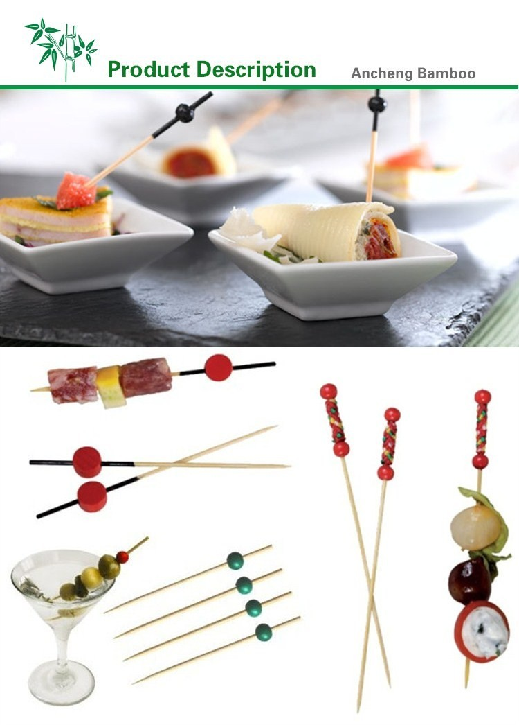 high quality food grade bamboo salad shaker/ skewers