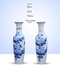 Jingdezhen peony blue and white porcelain ceramic large tall floor vases