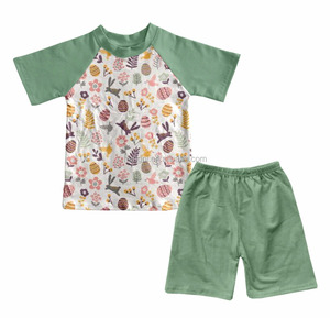 2018 new style wholesale children's boutique clothing bunny printed boys easter outfits