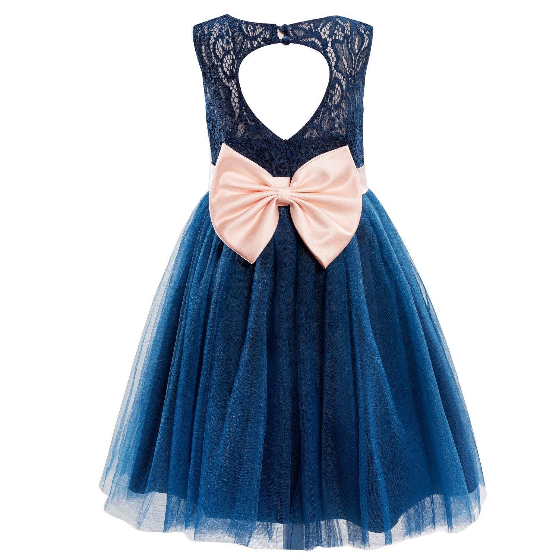 a0c117b7e83f Dresslane Navy Blue Lace Tulle Keyhole Back Flower Girl Dress Kids Dress
