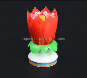 High Quality Rotating Musical Flower Birthday Candle
