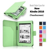2016 High Quality Book Style Flip Leather Case for New Kindle