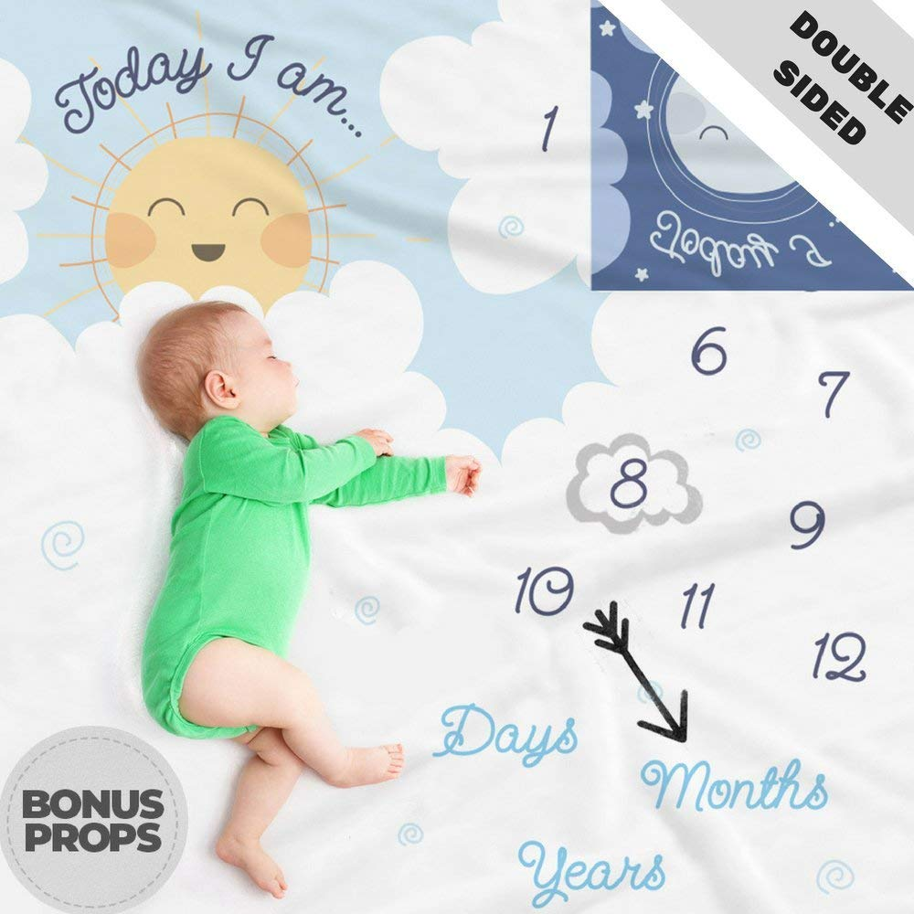 Double Sided Monthly Baby Milestone Blanket- Month Blanket for Baby Pictures | Photo Blanket with Baby Photo Props | Monthly Blankets for Newborns | Baby Boy and Girl Milestone Blanket |
