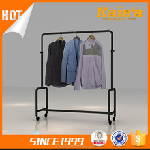 OEM floor four way retail shop clothing rack clothing display stand