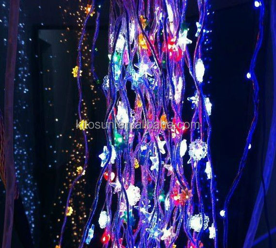 Led curtain light wedding party background stage decorations outdoor falling christmas star light