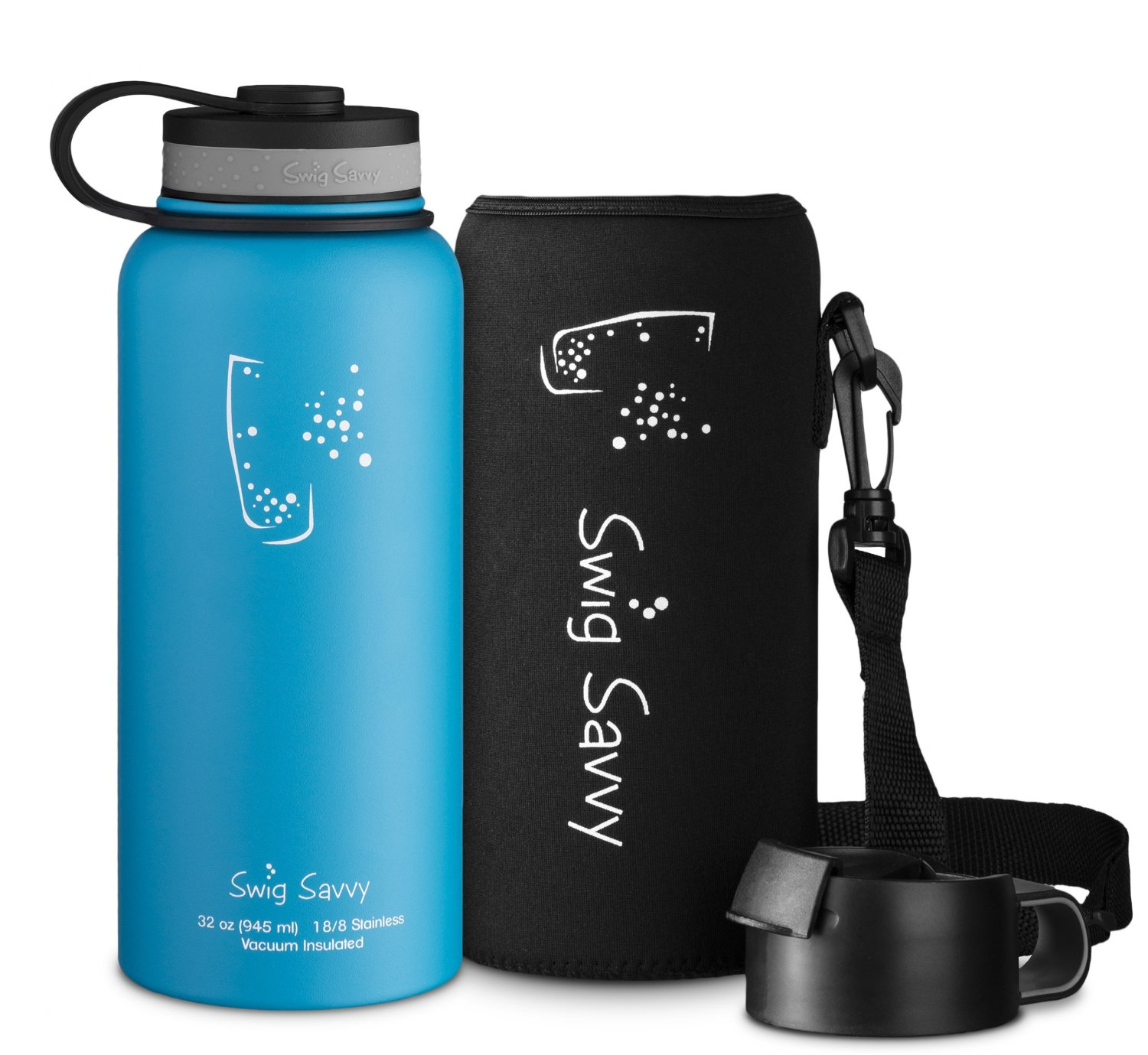 SWIG SAVVY Stainless Steel Vacuum Insulated Water Bottle - Wide Mouth - 32 oz Capacity - BPA Free - Double Wall Design - 100% Leak & Sweat Proof - Includes Pouch & Coffee Lid