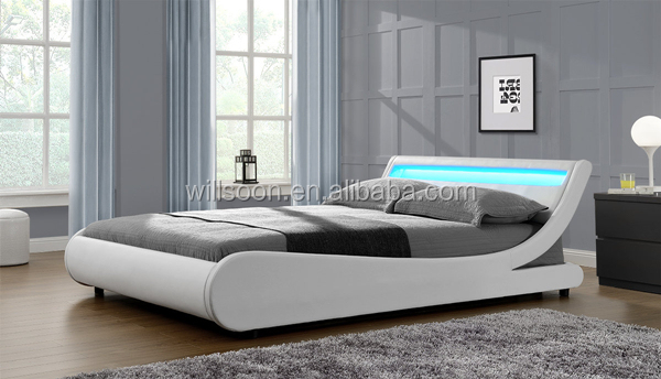Modern European S Shaped Bedroom Furniture Design Double Size Faux Leather Soft Pu Led Bed