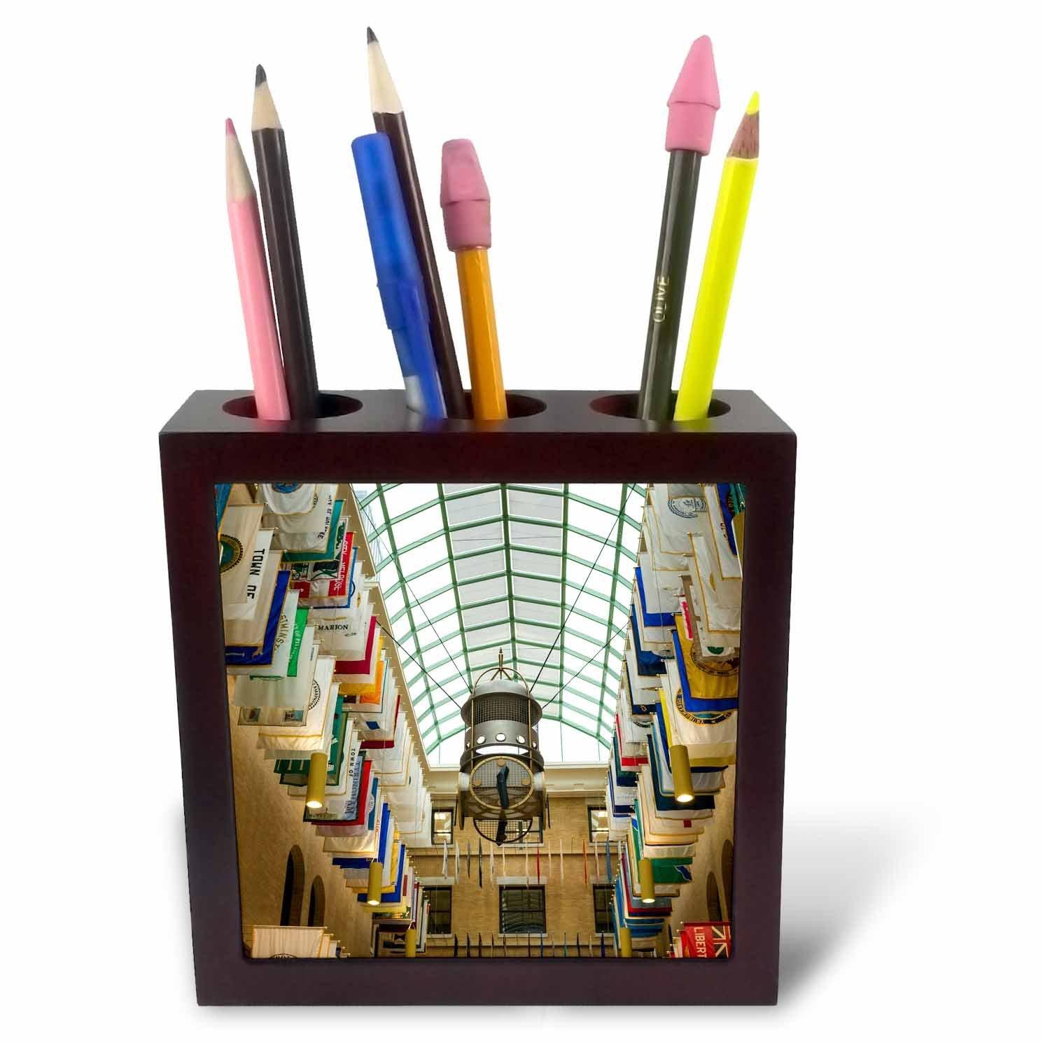 3dRose Danita Delimont - Boston - Massachusetts, Boston, Massachusetts State House, The Hall of Flags - 5 inch tile pen holder (ph_251118_1)