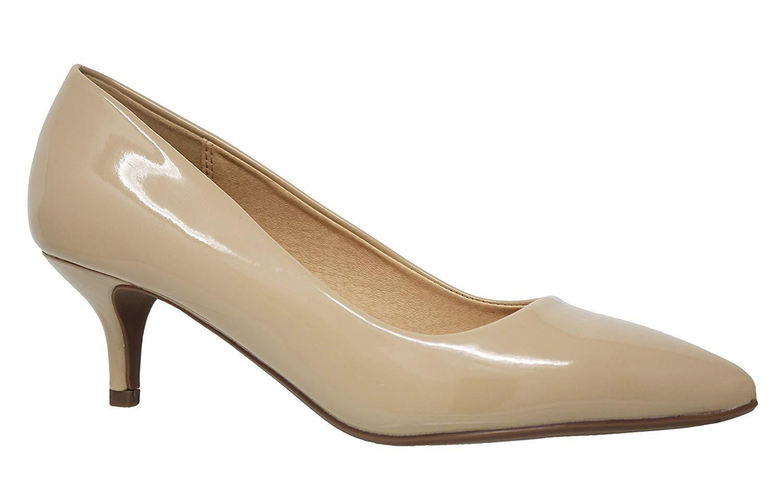 MVE Shoes Women's Pointed Toe Low Heel-Pumps