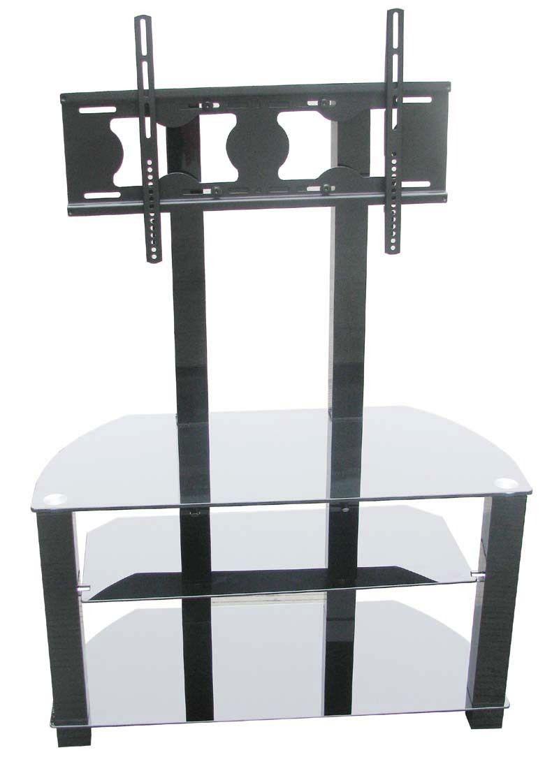 Cantilever Noir En Verre Tremp Et Aluminium Meuble Tv Pour Les  # Meuble Tv Verre Trempe Noir