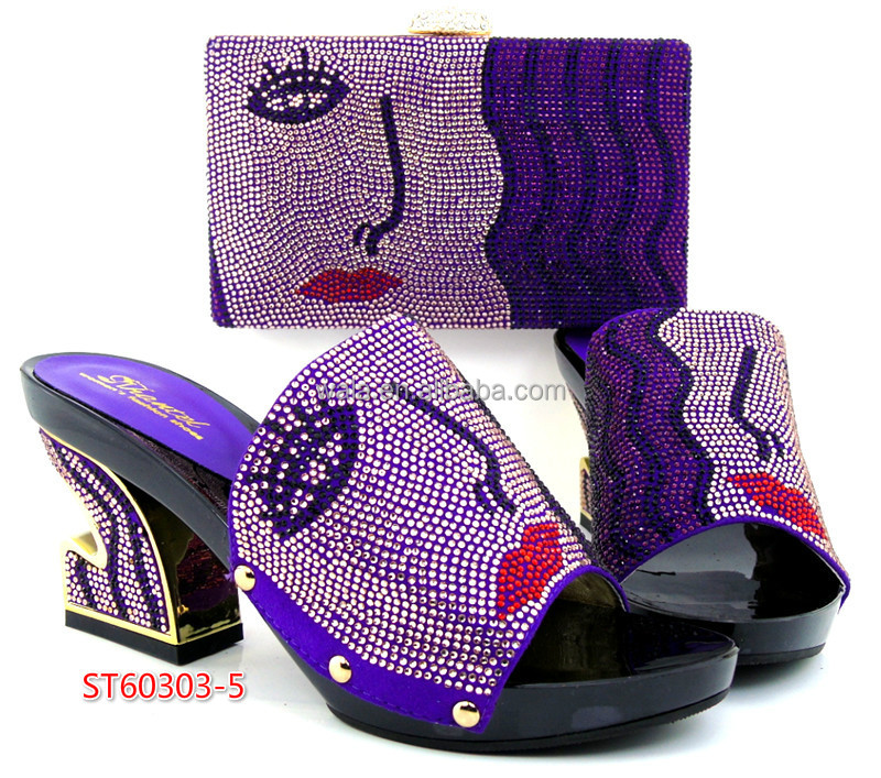 and ladies pattern purple and set rhinestone sexy ST60303 bag ladies for with color shoes face shoes bag 5 matching 7BAwqX