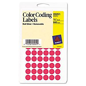Avery : Removable Self-Adhesive Color-Coding Labels, 1/2in dia, Neon Red, 840/Pack -:- Sold as 2 Packs of - 800 - / - Total of 1600 Each
