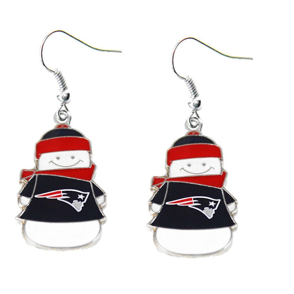 NFL New England Patriots Snowman Sports Team Logo Girls French Hook Style Charm Dangle Earring Set by aminco