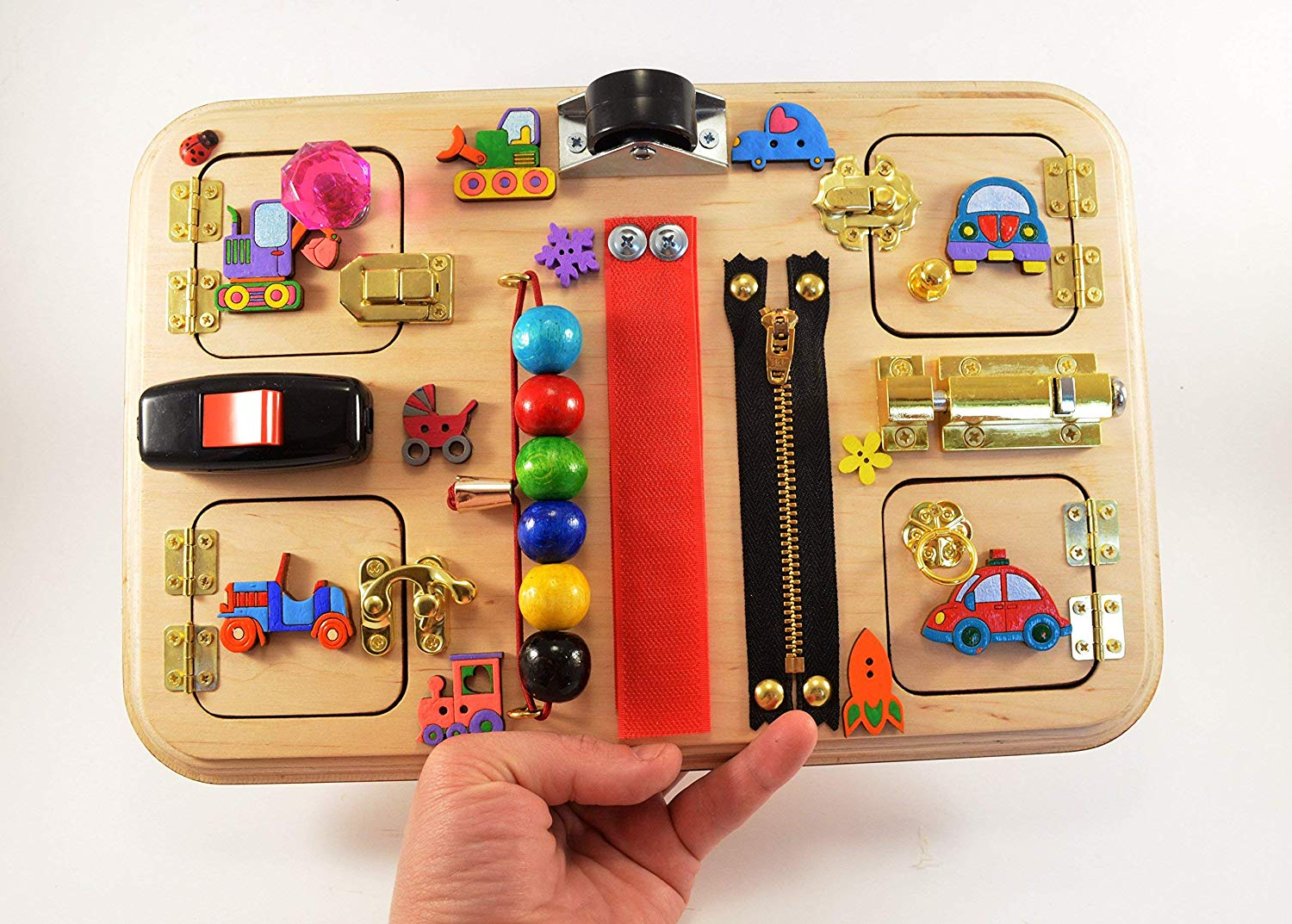Color Cars Busy board Busyboard Latch board Travel toys CIJ Eco toy July 4th Handmade toys Christmas in July Independence day Sensory baby