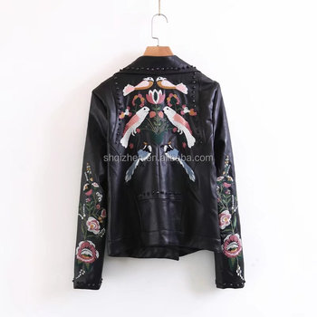 2017 new design pu leather jacket women embroidered long sleeve wholesale coat