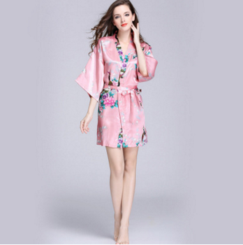 Luxury 100%Polyester Print Satin Silk Bathrobe Kimono lightweight Pink Robe  Women a82ee38c8