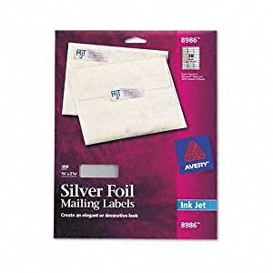 Avery : Foil Mailing Labels for Inkjet Printer, 3/4 x 2-1/4, Silver, 300/Pack -:- Sold as 2 Packs of - 300 - / - Total of 600 Each