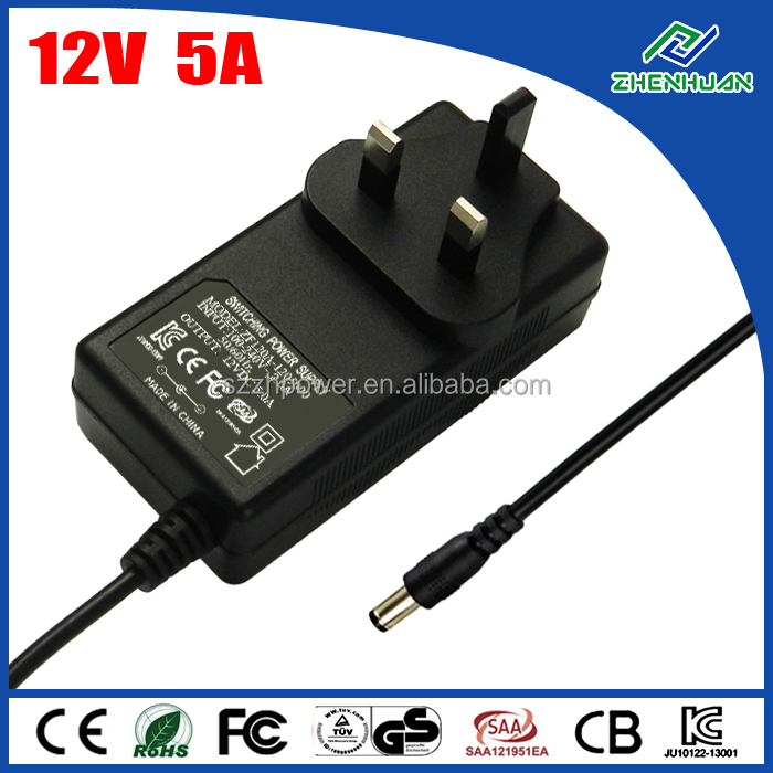 UK AU EU US plug 12V 5A 60W AC to DC adapter 230V to 12V power adaptor for 3528 5050 led strip