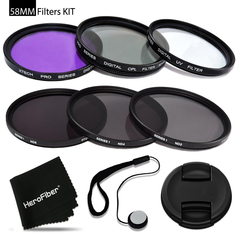 58mm Filters KIT for 58mm Lenses and Cameras includes: 58mm Filters Set (UV, FLD, CPL) + 58mm ND Filter Set (ND2 ND4 ND8) + 58mm Lens Cap + Lens Cap Holder + HeroFiber® cleaning cloth + MORE