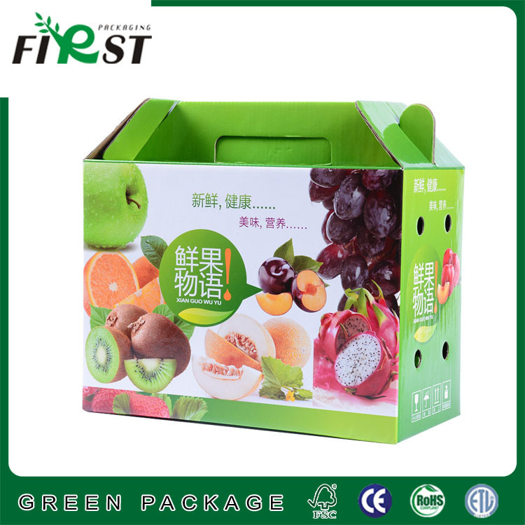 corrugated paper fruit box with handle/paper cardboard box packaging with handle/fruit paper box with handle