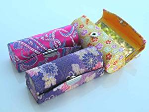 """Promotion(SHIP VIA FIRST CLASS MAIL)Lipstick Case,Lipstick Holders 3pcs/Set Elegant Satin Silky Fabric Cases w/Mirror. Assorted Gorgeous Designs ,Each 3pcs/Set Pack With FREE Fashion Design Satin Pouch or Gift Bag(Assorted Colors) Standard Size 3 1/2""""L x 1 1/4""""W , Super Value,Good for Birthday"""