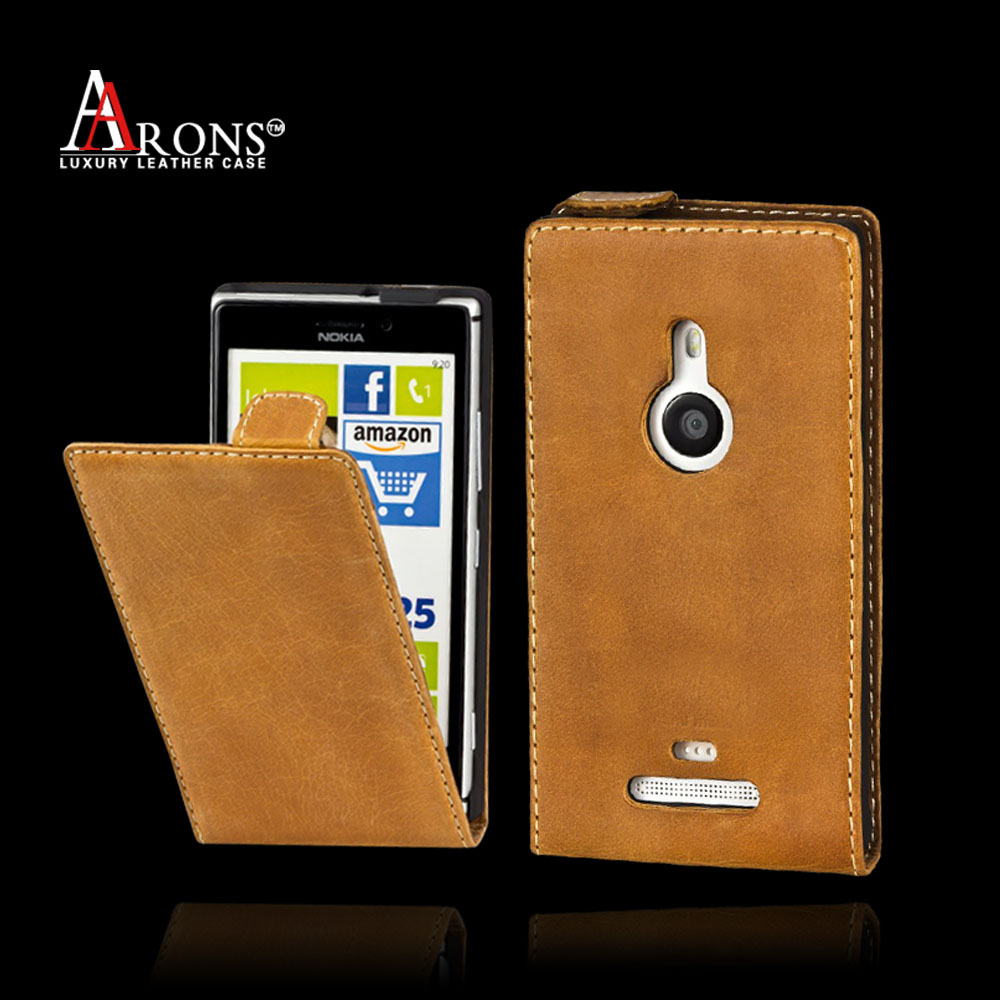 Top quality genuine leather flip case for nokia lumia 925