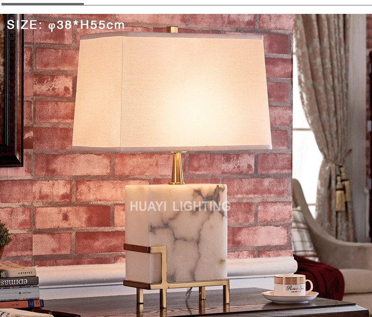 Cheap contemporary beautifully square marble lamp&table lamps for living room