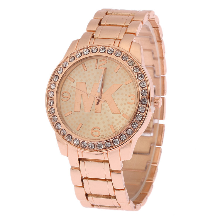 Rhinestone Men And Women Clothing Stainless Steel Watch Crystal Quartz Watch High Quality Brand Watch