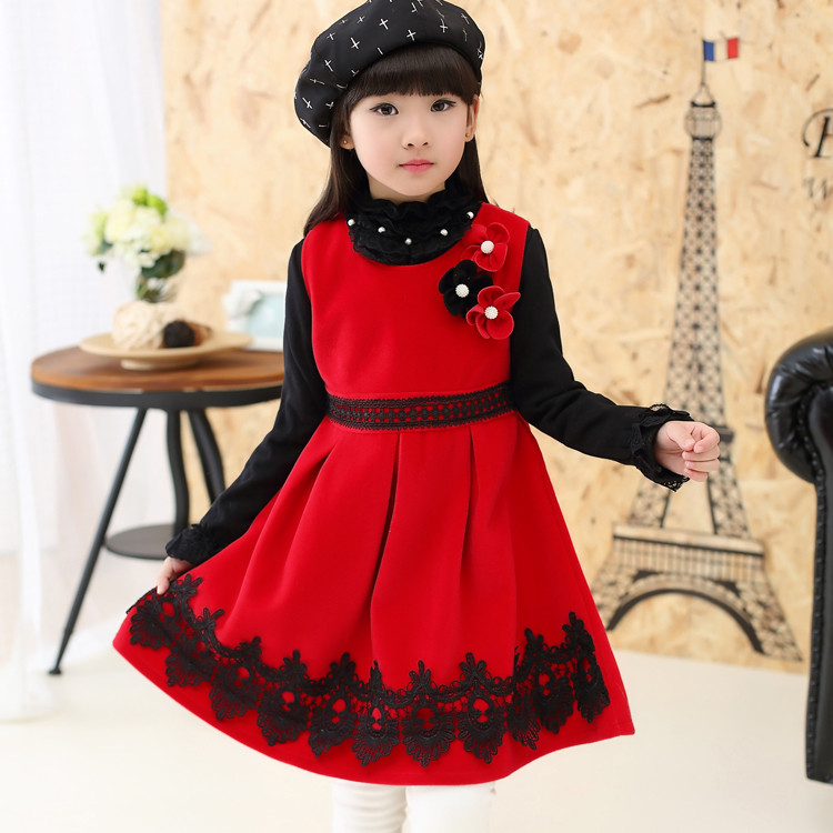 acda02d1eaba winter kids christmas party clothes nylon red party dress european pinafore  girls new year pinafore dress