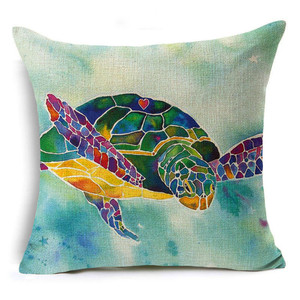 Custom Design Heat Transfer Printed Home Decor Low MOQ Pattern of Tortoise 18x18inches Cotton Linen Pillow Case