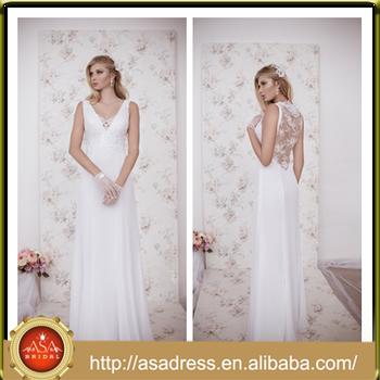 Na 14 Déesse Grecque Style Voir à Travers Le Dos Robes De Mariée 2015 Grande Taille Pleine Longueur Simple Plage Robe De Mariée Pour Mariage Partie
