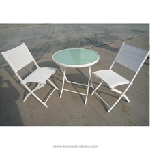 3-piece White Folding Metal Bistro Table and Chairs Set