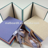 Acid Free Cardboard Photo Frame mattboard Folder with Gold Line for Pictures White Wedding Party