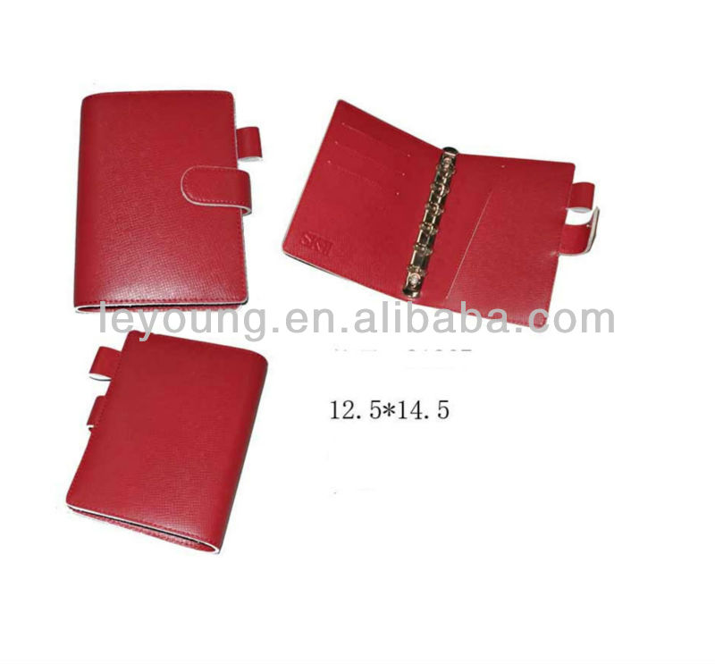 Red Pocket size leather planner cover with ring binder