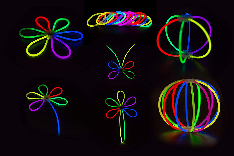 "Ultra Bright Glow Sticks 400 Count- NAT & PAT Premium Glow In The Dark Light Sticks 8"" - Glow Stick Bracelets, Glow Necklaces, Glow Balls, Flowers - Party Favors Pack with 400 Bracelet Connectors + 8 Connectors BONUS For Balls And Flowers (Total 808 Pcs, Mixed Colors)"