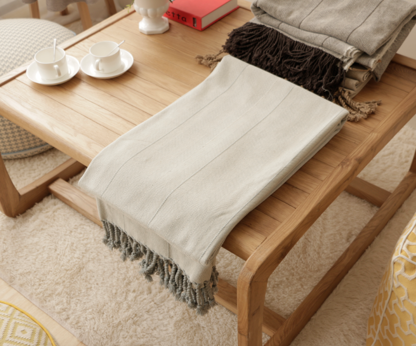 JYH Wholesale Cotton woven fringed plaid throw blanket