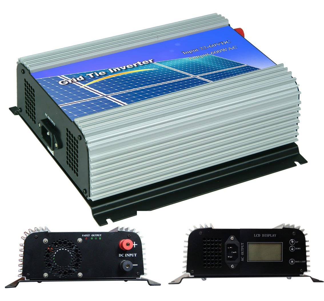 DECEN 600w High Efficiency On Grid Tie Inverter Output Pure Sine Wave, 22-60vdc,LCD Display,110vac,60hz for Home Solar System