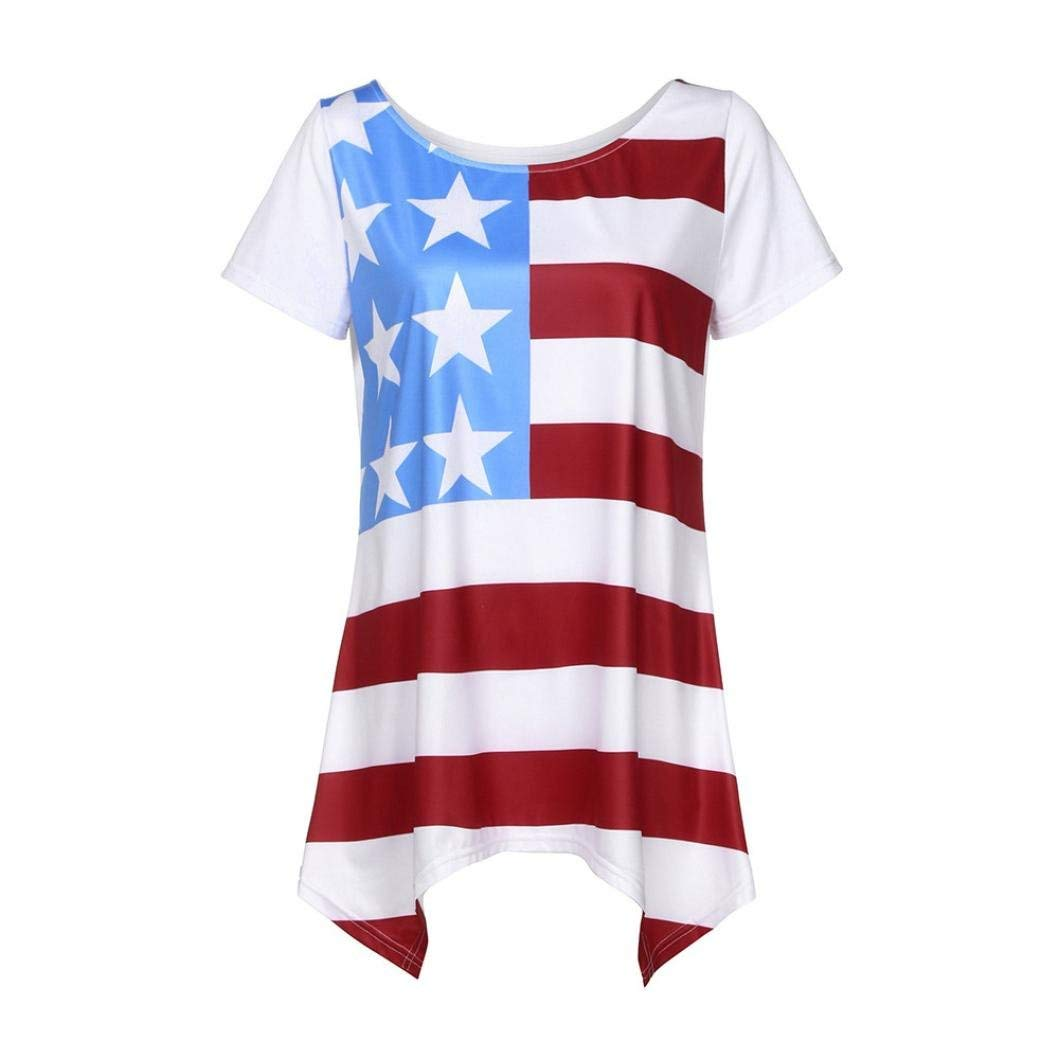 American Flag T Shirt,Hemlock Women July Fourth Patriotic Star Flag Printed Blouse Tops Tees (M, White)