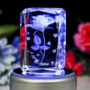 Beautiful 3d Laser Crystal Rose Cube With Led Light,Crystal ...
