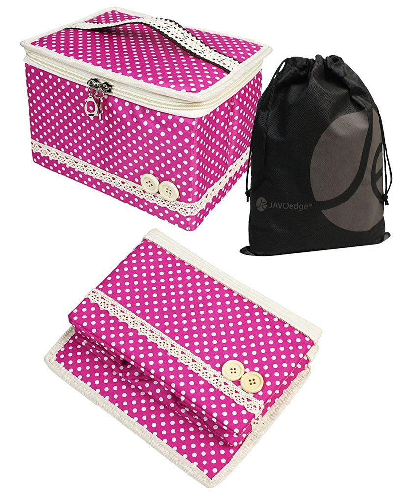 JAVOedge Pink Polka Dot Travel Jewelry, Cosmetic Collapsible / Foldable Box with Handle + Bonus Drawstring Storage Bag