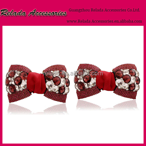 WINE RED COLOR Bow Flower for wedding shoe clips Decoration Ornament with Metal Clip Shoe Charms