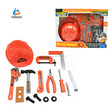 Plastic kid's pretend play toy mechanical tools set,bricolage tool toy with safety helmet