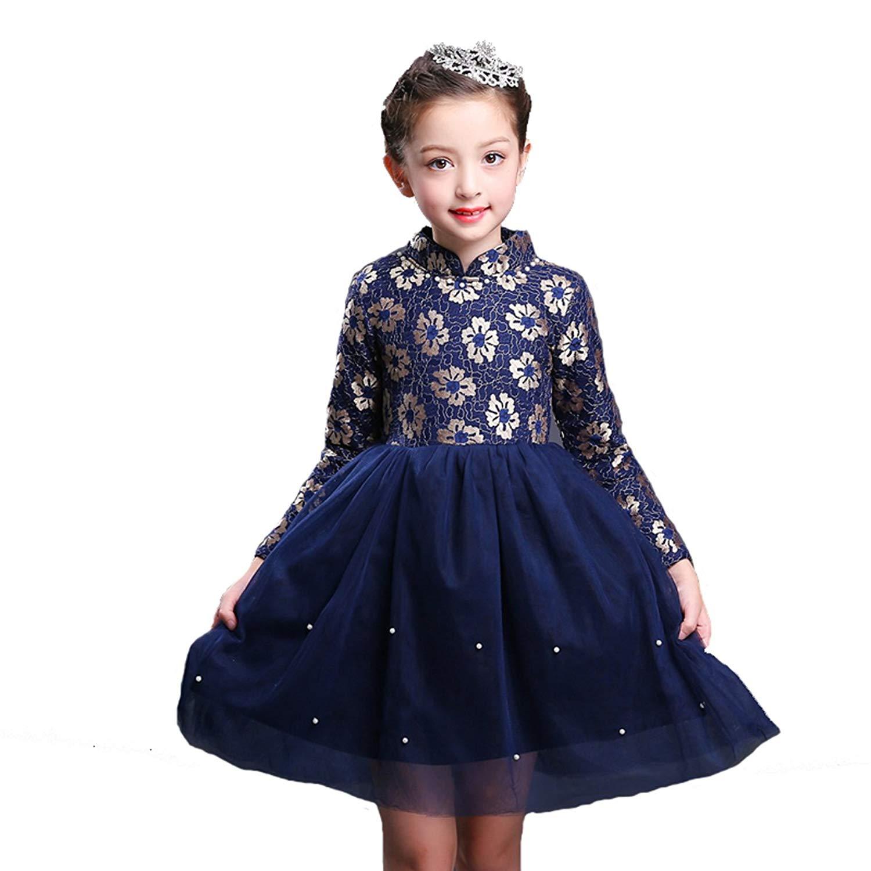 935aba2a3 Buy little dragon pig Kids Christmas Winter Dress Girl Flower Tulle ...
