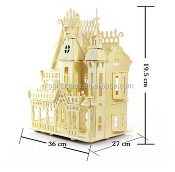 hot sell unfinished wooden castle model toy home decoration made in china