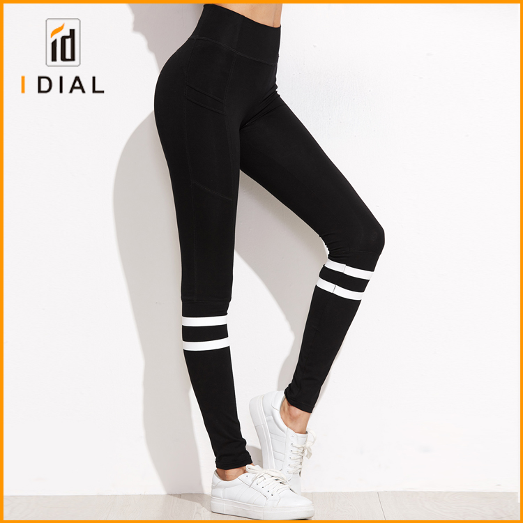 High waist sexy women black yoga leggings custom fitness compression sports tights with white stripe