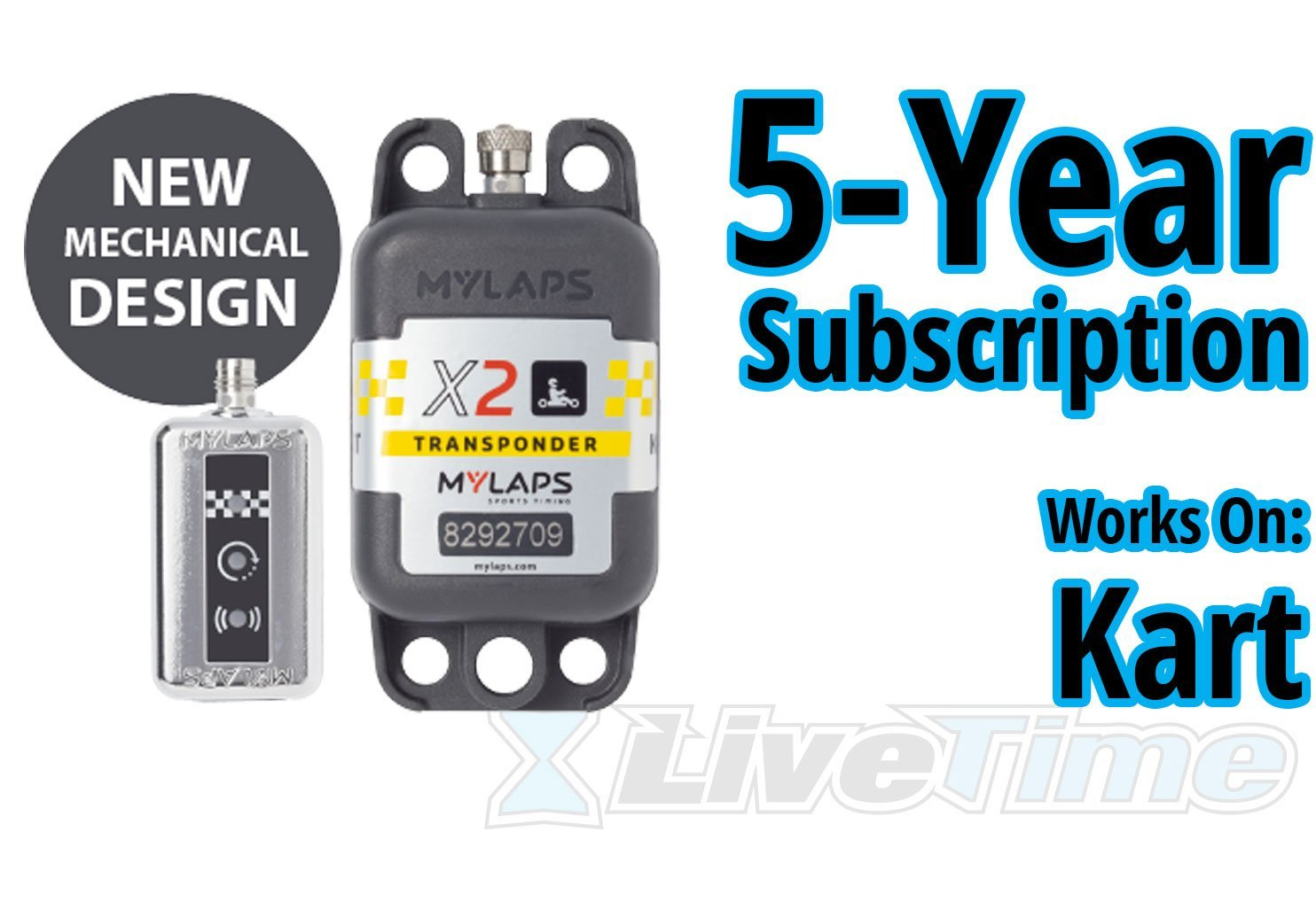 MyLaps X2 Transponder, Rechargeable, for Karting, includes 5-Year Subscription